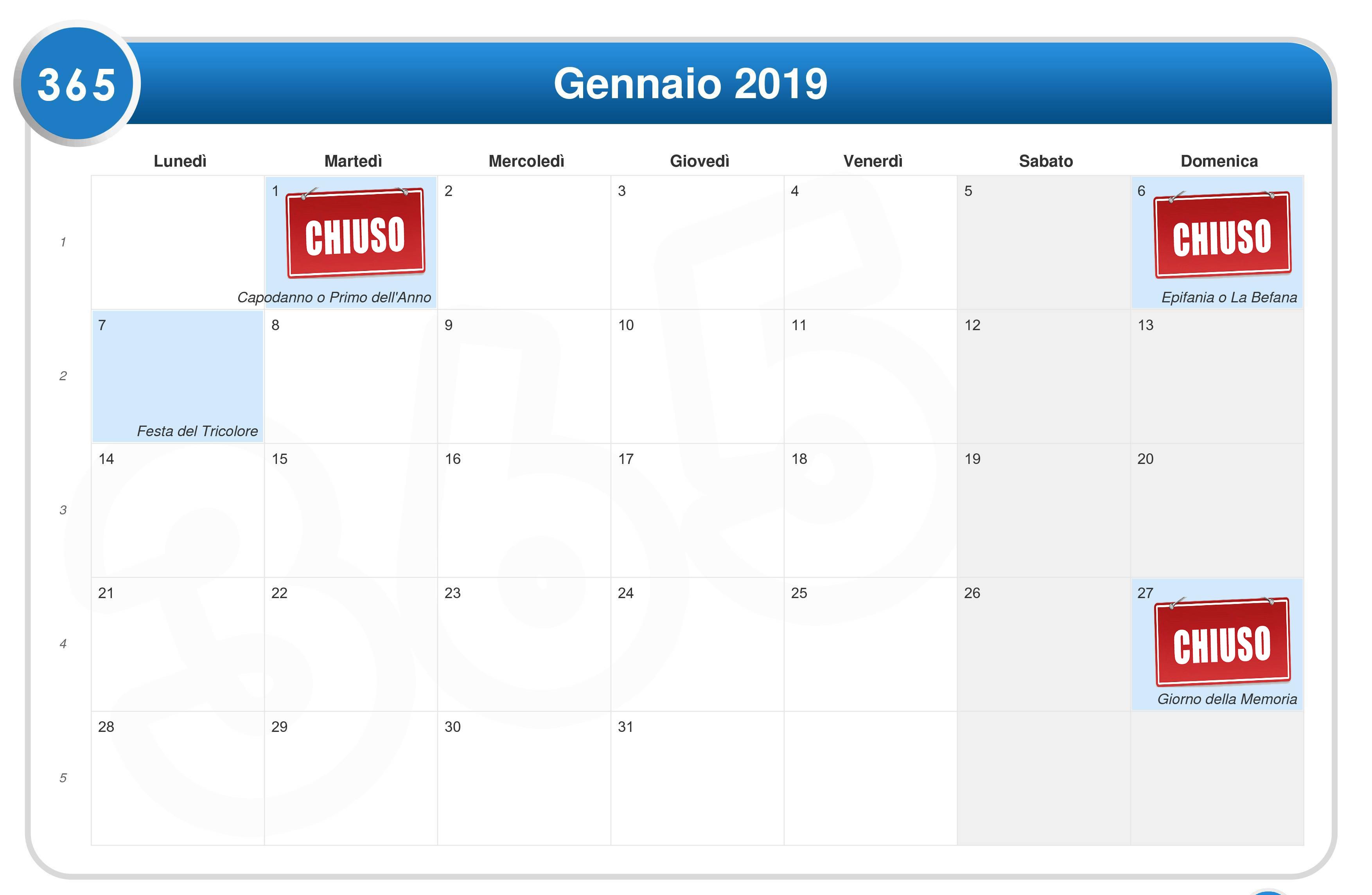 Calendario Gennaio.Calendario Gennaio 2019 Ego Club