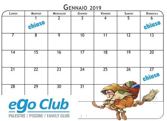 calendario gennaio 2019